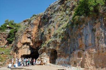 banias: rocks wall and ancient sanctuary of Pan, Banias, Israel Stock Photo
