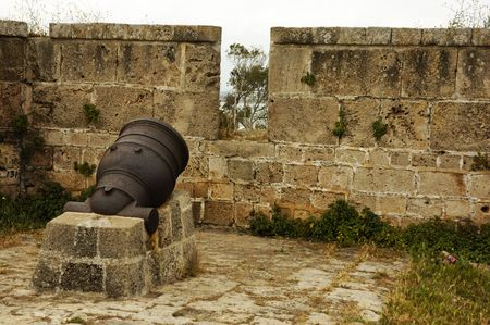 artillery shell: old mortar in a fortress Stock Photo