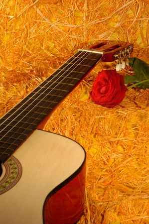 guitar and rose on a straw background photo