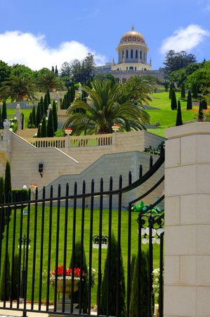 view of Bahai Temple,  sepulchre of Baba, founder of bahaism, Haifa, Israel photo