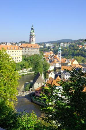 The town of Cesky Krumlov is more and more turning into the final destination of thousands of visitors from our own country and abroad. This is no wonder, as it has been preserved as a mediaeval architectonical historical monument even now and is pictures Stock Photo - 1931113