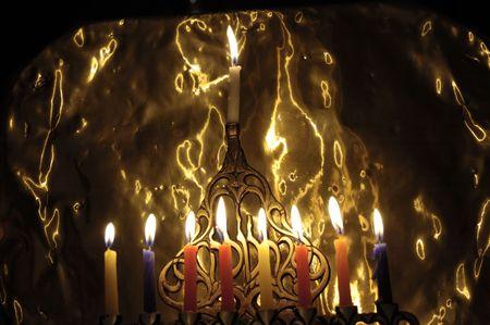 orison: Chanuka candles in chanukia