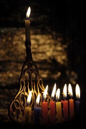 hanukah: Chanuka candles in chanukia