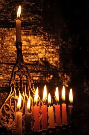 menora: Chanuka candles in chanukia