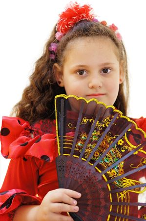 portrait young girl with fan on a white background photo