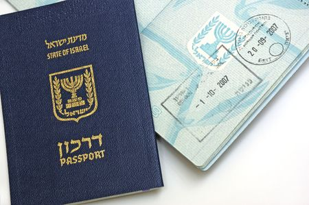 Passport of  Israel citizen on white background photo