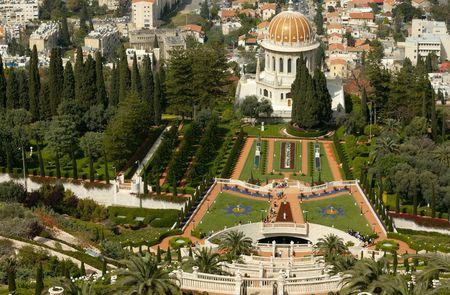 view of Bahai Temple,   Haifa, Israel photo