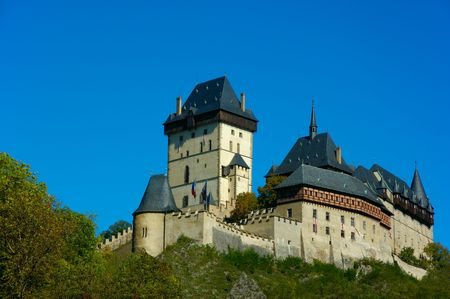 housed: Karlstein Castle, constructed in 1348 in the Bohemia, Czech Republic, was a splendid royal seat and housed the imperial crown jewels. Stock Photo