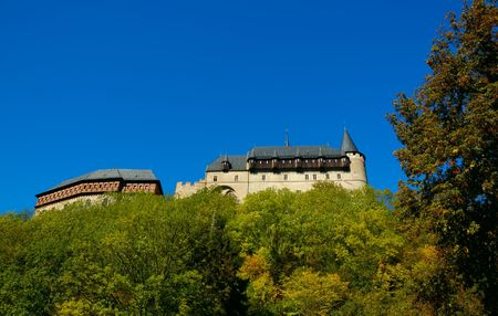 splendid: Karlstein Castle, constructed in 1348 in the Bohemia, Czech Republic, was a splendid royal seat and housed the imperial crown jewels. Stock Photo