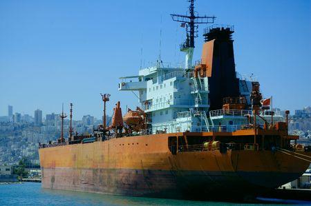 haifa: cargo ship in a port of Haifa