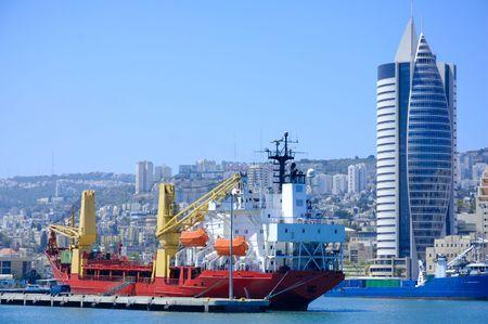 cargo ship in a port of Haifa photo