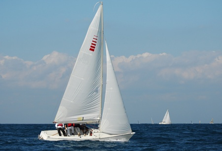 jib: Racing yachts in a  Mediterranean sea