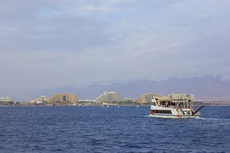 eilat: Pleasure-boat on background of Eilat, Red Sea