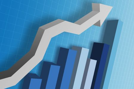 decline: A business chart  graph showing the decline of the finicial money market