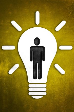 An abstract illustration of a Bright Idea on a textured background  Stock Photo