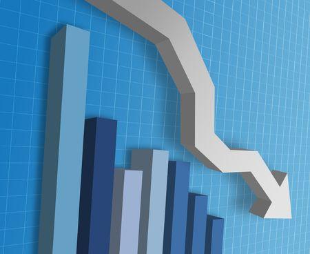 perdidas y ganancias: Una empresa tabla  gr�fico que muestra la disminuci�n de la finicial del mercado monetario