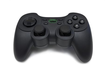 A video game joystick isolated on a white background