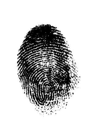 crime solving: A finger print on a white background