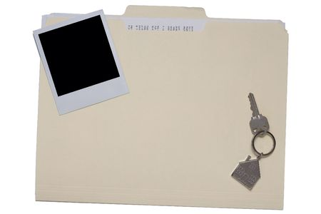 A manila folder with a and a house key. add your own real estate shot and text to customize it.