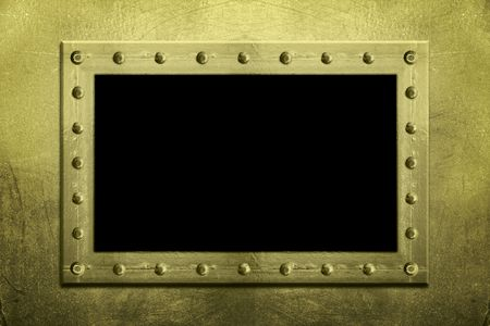 A metal frame  border made of rivets  bolts holding sheets of textured metal together on a textured grunge background. Add your own image or text in the center. Stock Photo