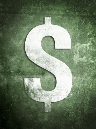 A weathered old dollar sign on a grunge textured background.