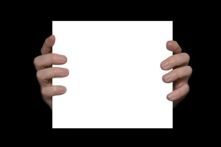 Hands holding a blank white card on a black background. Insert your own message  image.
