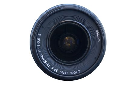 A camera zoom lens on a white background Stock Photo