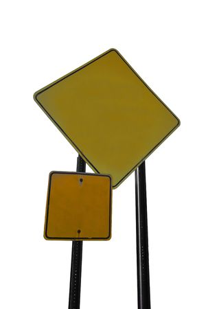 A yellow road sign isolated on a white background. add your own text and messages to these signs.