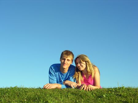 couples lie on grass Stock Photo - 249002