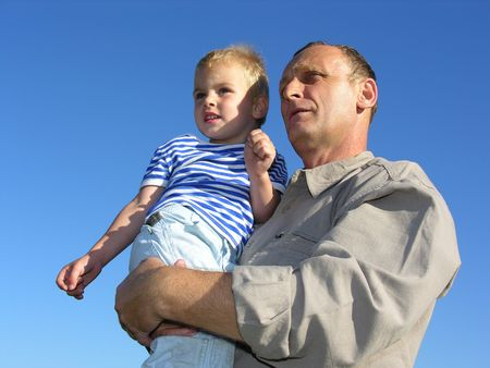 grandfather with grandson look at horizon and future Stock Photo - 248997