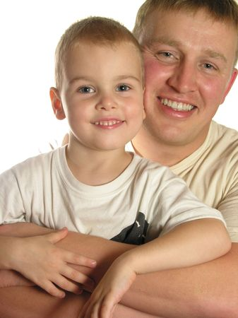 faces father with son smile isolated Stock Photo - 256942