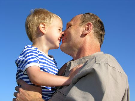 feel feeling: grandfather with grandson kiss by nose