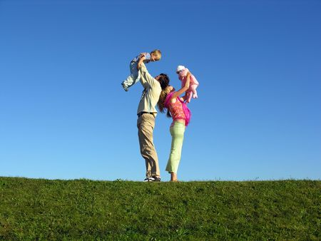 happy family with two children on blue sky 2 Stock Photo - 259593