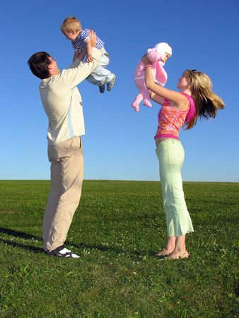 happy family with two children on blue sky 3 Stock Photo - 259588