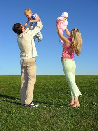 happy family with two children on blue sky Stock Photo - 259587