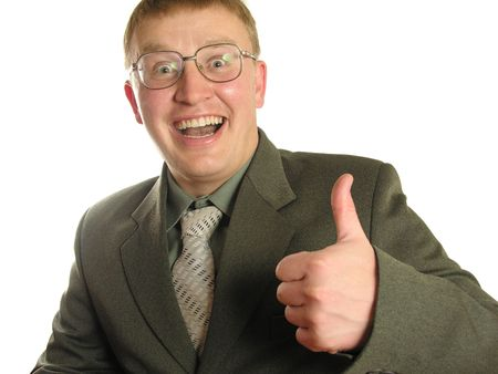 Businessman With Thumb Up   isolated