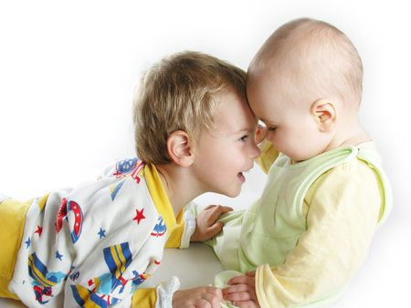 child with baby on white Stock Photo - 262198