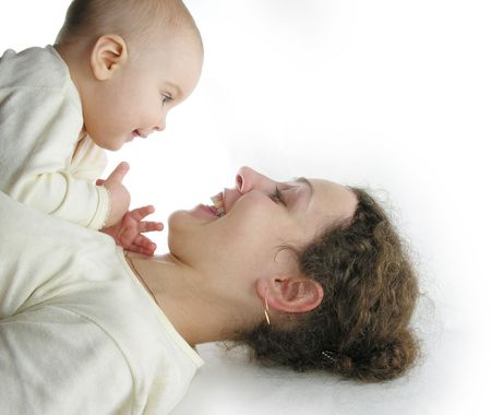 mother with baby isolated Stock Photo