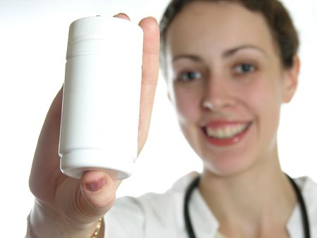 Doctor holding product