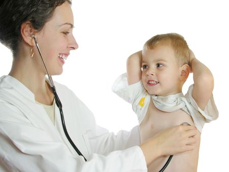 doctor examining woman: Doctor assessing patient by stethoscope 2