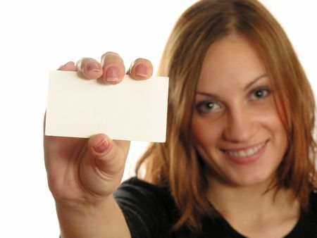 inquiring: girl with card for text