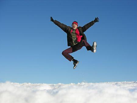 fly jump man. winter.