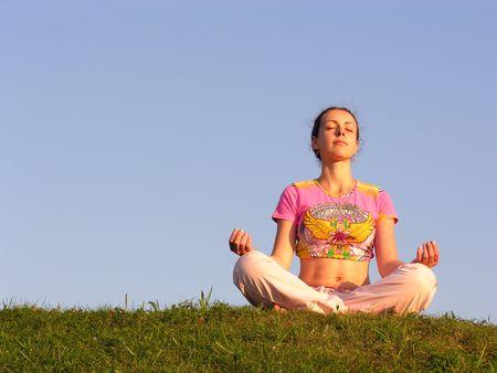 girl meditation blue sky Stock Photo - 327960