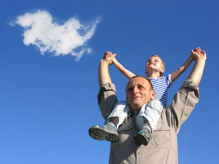 grandfather and grandson with cloud Stock Photo - 375733