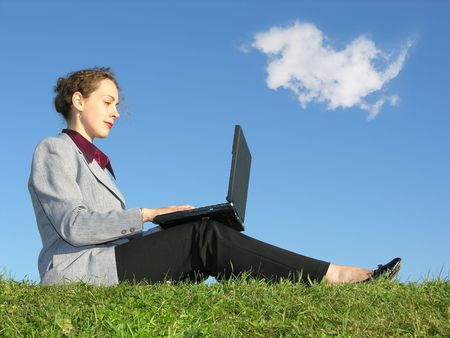 businesswoman sit with notebook on blue sky with cloud Stock Photo - 375753