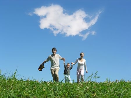 family sunny day and cloud photo