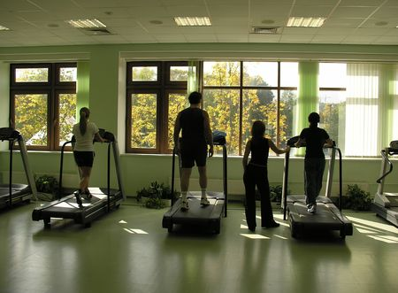people with teacher in health club and autumn in window Stock Photo - 423141