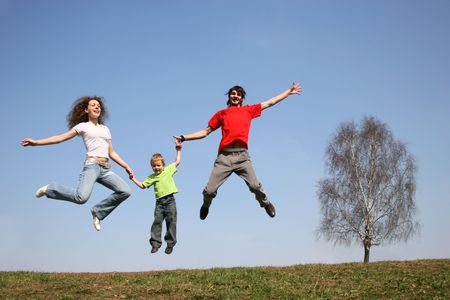 jumping family. spring. photo
