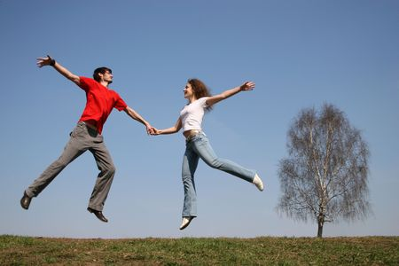 jumping couple. spring.