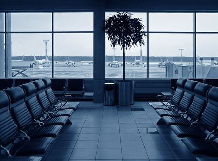 Waiting room airport. blue. planes photo
